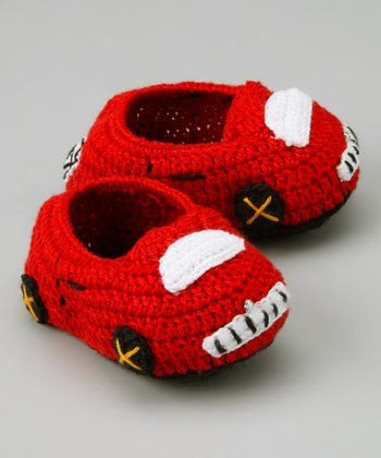 Red & White Car Crochet Booties