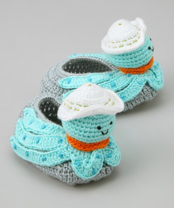 Turquoise & White Splash Crochet Booties
