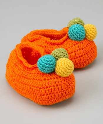 Orange Ball of Fun Crochet Booties