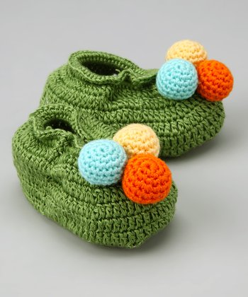 Green Ball of Fun Crochet Booties