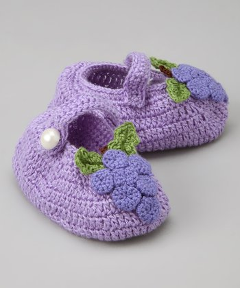 Purple Bundle of Grapes Crochet Mary Jane Booties
