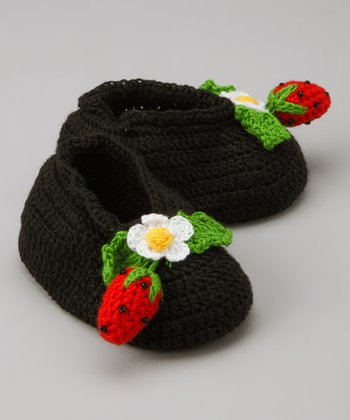 Black & Red Strawberry Crochet Booties