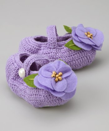 Lilac Blooming Flower Crochet Mary Jane Booties