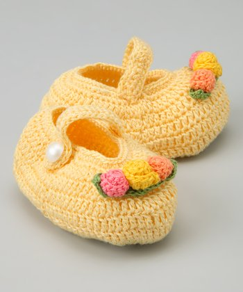 Banana Floral Arrangement Crochet Mary Jane Booties