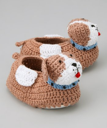 Brown & White Puppy Crochet Booties
