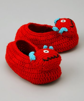 Red One-Eyed Monster Crochet Booties