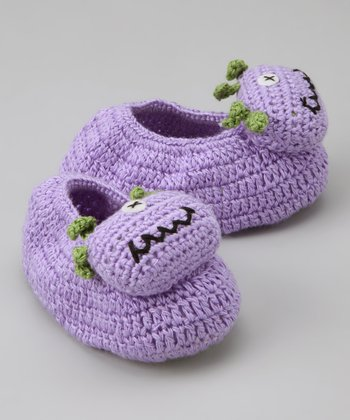 Purple One-Eyed Monster Crochet Booties