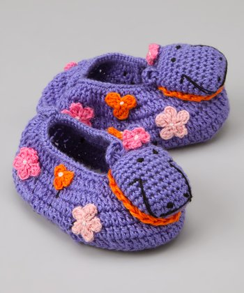 Purple Hippo Crochet Booties