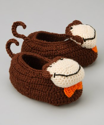 Brown & White Monkey Crochet Booties