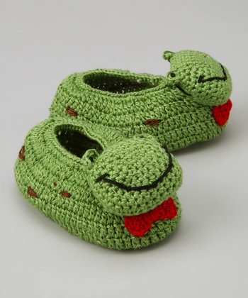 Green Frog Crochet Booties