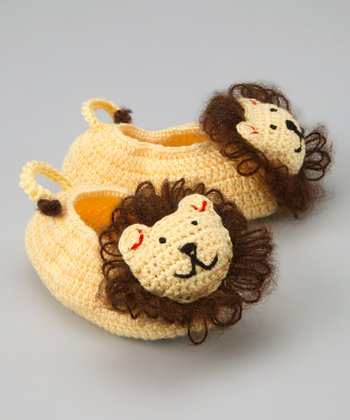 Banana & Brown Lion Crochet Booties