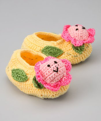 Yellow & Pink Flower Crochet Booties