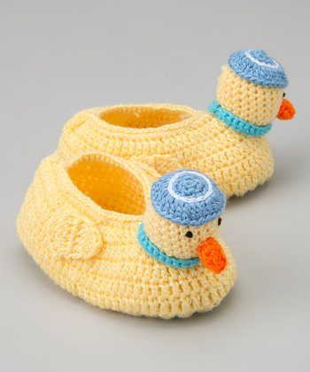 Yellow & Blue Duck Crochet Booties