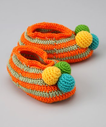 Orange & Green Ball of Fun Crochet Booties