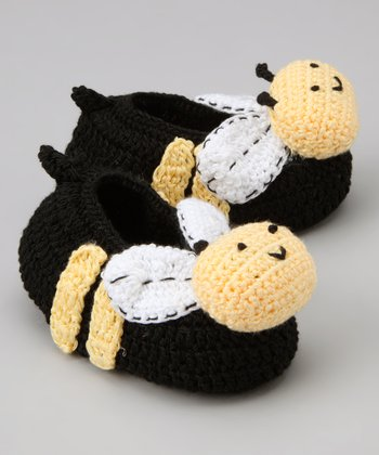 Yellow & Black Bumblebee Crochet Booties
