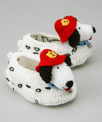 White & Red Dalmatian Crochet Booties