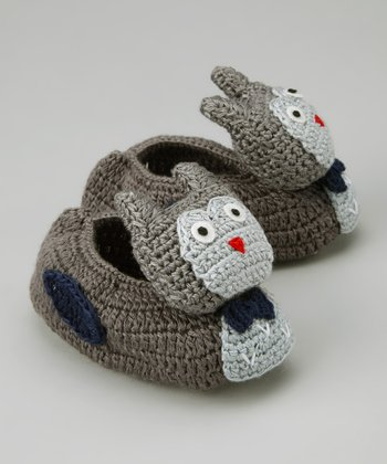 Gray Owl Crocheted Booties