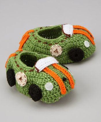Green & Orange Racecar Crochet Booties