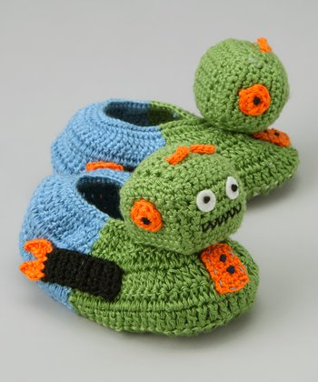 Green & Orange Robot Crochet Booties