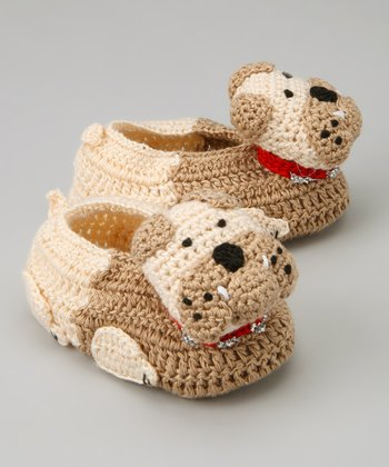 Brown Bulldog Crochet Booties