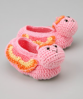 Pink Butterfly Crochet Booties