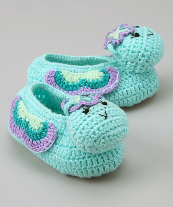 Aqua Butterfly Crochet Booties