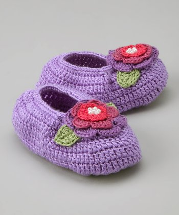 Lilac Rose Crochet Booties