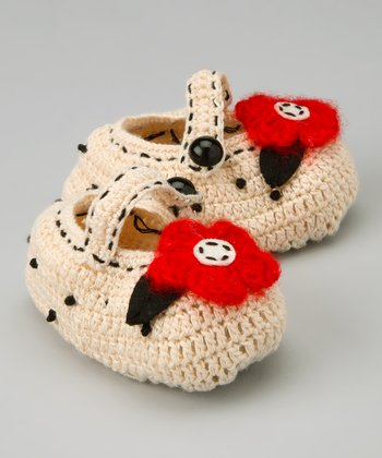Ivory & Red Flower Crochet Mary Jane Booties