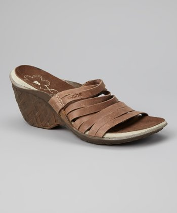Brown Weave Wedge Slide - Women