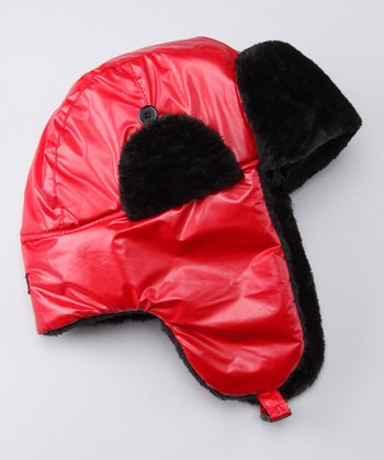 Red Metallic Trapper Hat