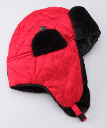 P.O.X. Hats Red Quilted Aviator Hat
