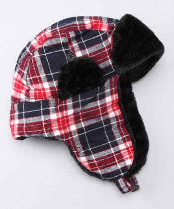 Black & Red Plaid Trapper Hat
