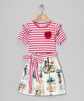 Pink Vivienne en Paris A-Line Dress - Toddler & Girls