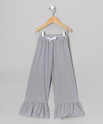 Heather Gray Ruffle Pants - Toddler & Girls