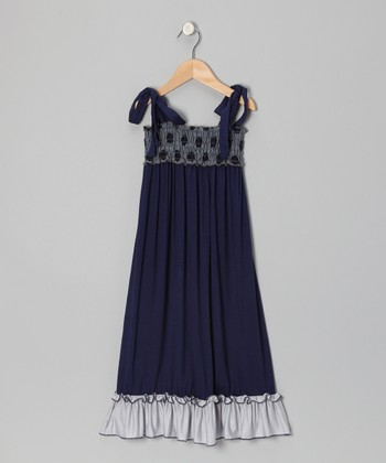 Wonder Me Navy Jen Jen Shirred Maxi Dress - Girls