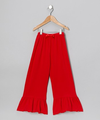Wonder Me Red Ruffle Pants - Toddler & Girls