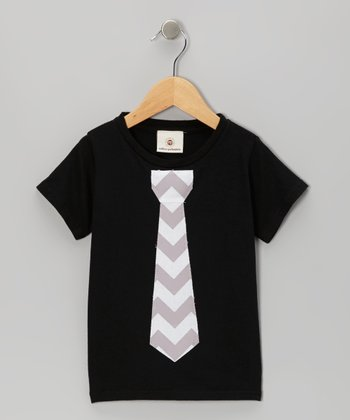 Black & Gray Zigzag Tie Tee - Infant, Toddler & Boys