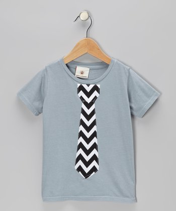 Gray & Black Zigzag Tie Tee - Infant, Toddler & Boys