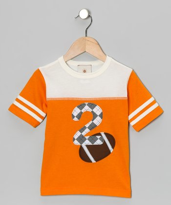 Orange Football '2' Tee - Toddler