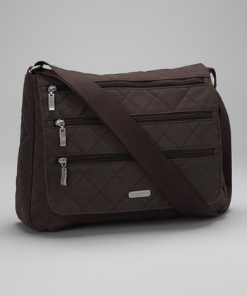 Espresso & Tomato Quilted Messenger Bag