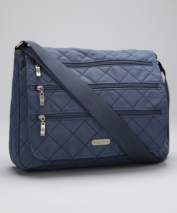 Steel Blue & Leaf Green Quilted Messenger Bag