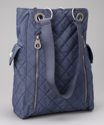 Steel Blue & Leaf Green Quilted Florence Tote