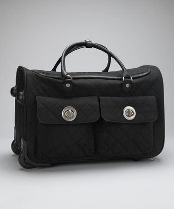 Black & Khaki Quilted Rome Roller Bag