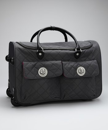 Charcoal & Fuchsia Quilted Rome Roller Bag