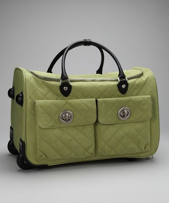 Leaf Green & Steel Blue Quilted Rome Roller Bag