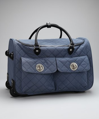 Steel Blue & Leaf Green Quilted Rome Roller Bag