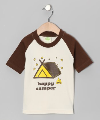 Natural & Brown 'Happy Camper' Organic Tee - Toddler
