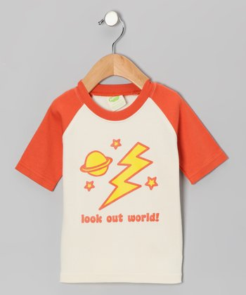 Natural & Orange 'Look Out World' Organic Tee - Toddler