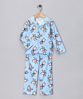 Blue Monkey Pajama Top & Pants - Infant