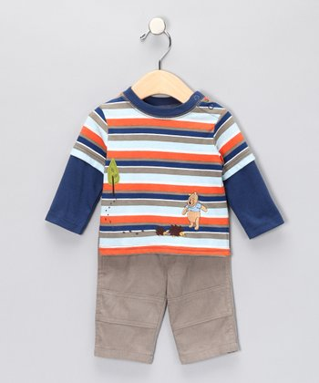 Orange Stripe Pooh Tee & Pants